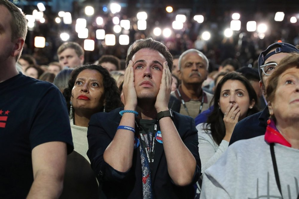 Reaction of Hillary supporters on the night of the U.S. Presidential election when it was evident their candidate didn't win enough votes. (Source: ABC News)
