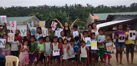 Stella Abrera visits the children of typhoon-hit Guiuan, Samar. The children were cared for through the sponsorship of the charity Steps Forward for the Philippines. (Source: Stella Abrera's Instagram)