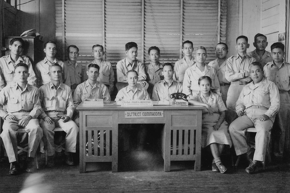 Juan Benitez (center) as District Commander of the Pangasinan-Tarlac Military District (PTMD) with members taken post-WWII, circa late 1940s. (Photo courtesy of Alice Benitez)