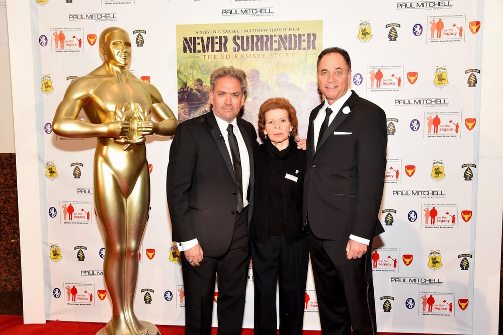 Vanilla Fire Executive Producers Steven C. Barber, Raquel Ramsey & Director Matthew Hausle at the Premiere of Never Surrender: The Ed Ramsey Story documentary film, 2016 (Photo Courtesy of William Kidston)
