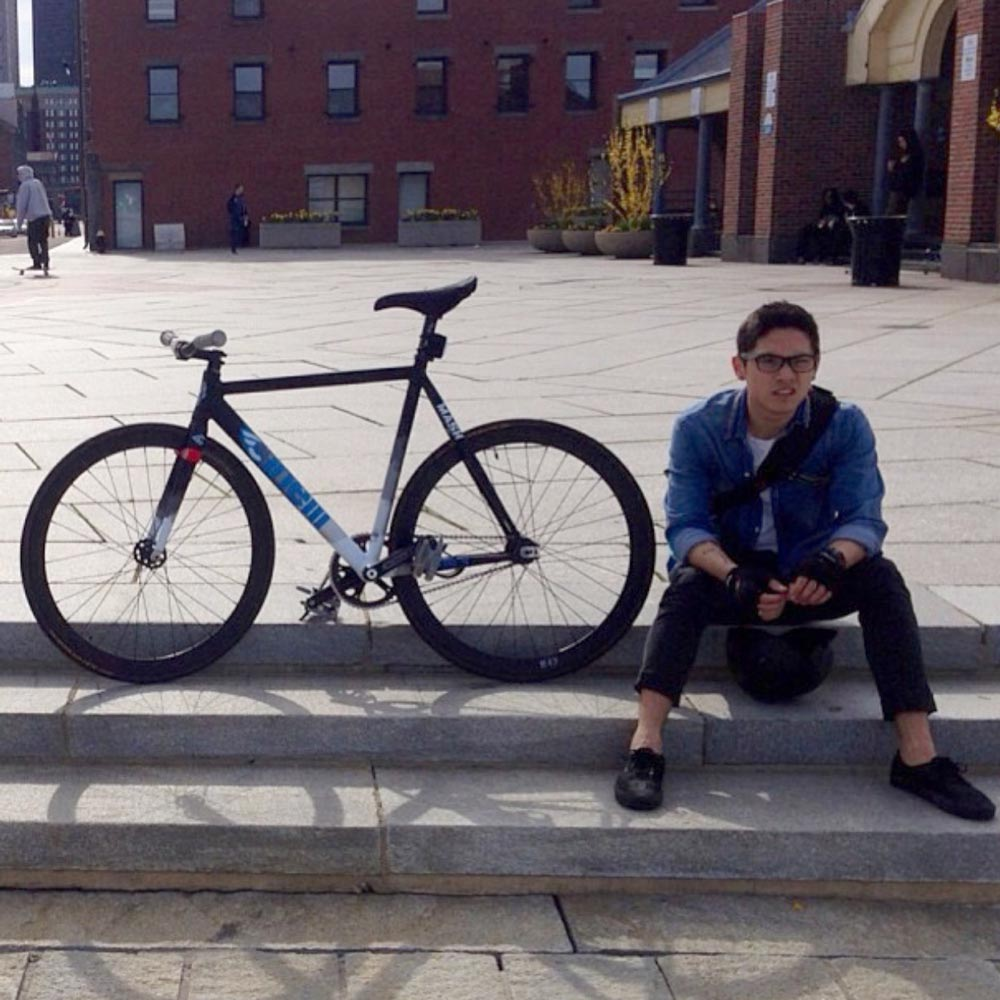 Jeffrey, with one of the bikes he built, a Cinelli Mash (Photo courtesy of Jeffrey Cirio)