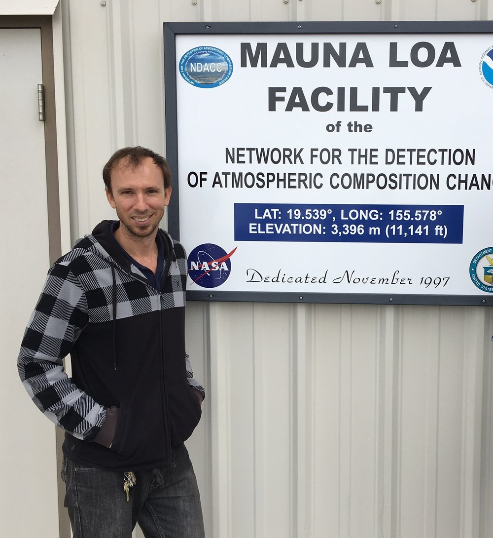 Aidan Colton is an atmospheric scientist at the NOAA/Mauna Loa Observatory in Hawaii. He and his team monitor atmospheric readings at the lab and make the data available to the public through the  National Oceanic and Atmospheric Administration (NOAA)  website. (Photo courtesy of Aidan Colton)