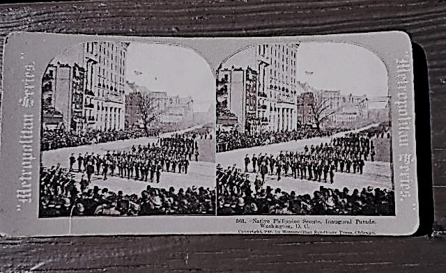 Stereograph featuring the Filipino Scouts (Photo courtesy of The Philippines on the Potomac (POPDC) Project)