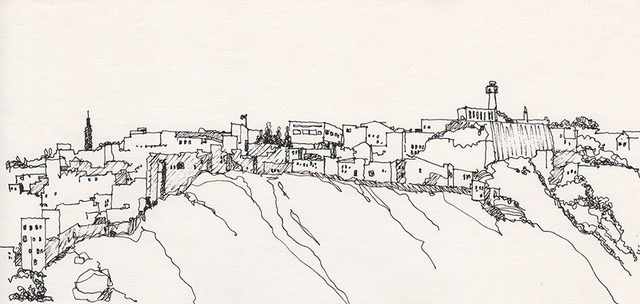 Tangier's skyline in Morocco was slowly unfolding as we left land for the waters and it was a spontaneous and an instantaneous decision to sketch it.– Jul 1983