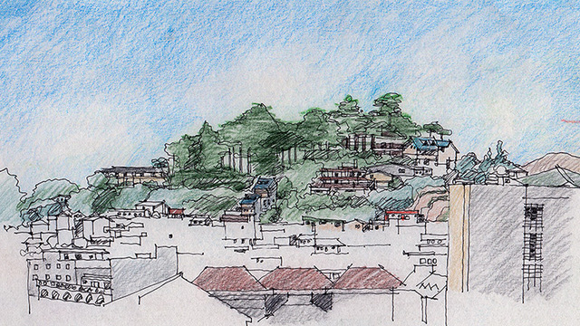 I began with the promontory as the focal point of the sketch. I was then circling it when the bus conductor issued a call to start boarding. Baguio City, Philippines – December 1993