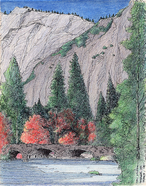 A living arrangement between man and nature. Stone Bridge at Yosemite National Park, California.– November 1981
