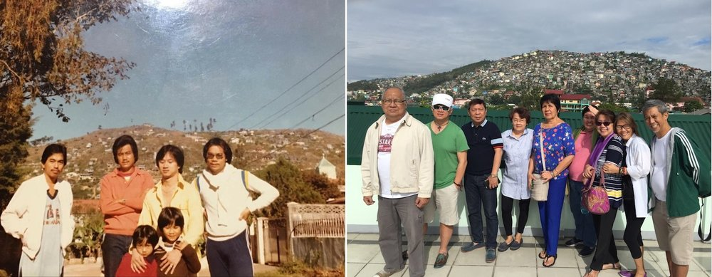 Quirino Hill, before and now (with friends and family, left; with friends, right. Photo by Rene Astudillo)