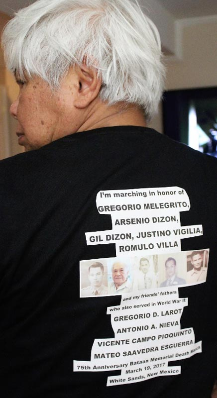The author's shirt carries the names of his father and uncles.(Photo by Jon Melegrito)