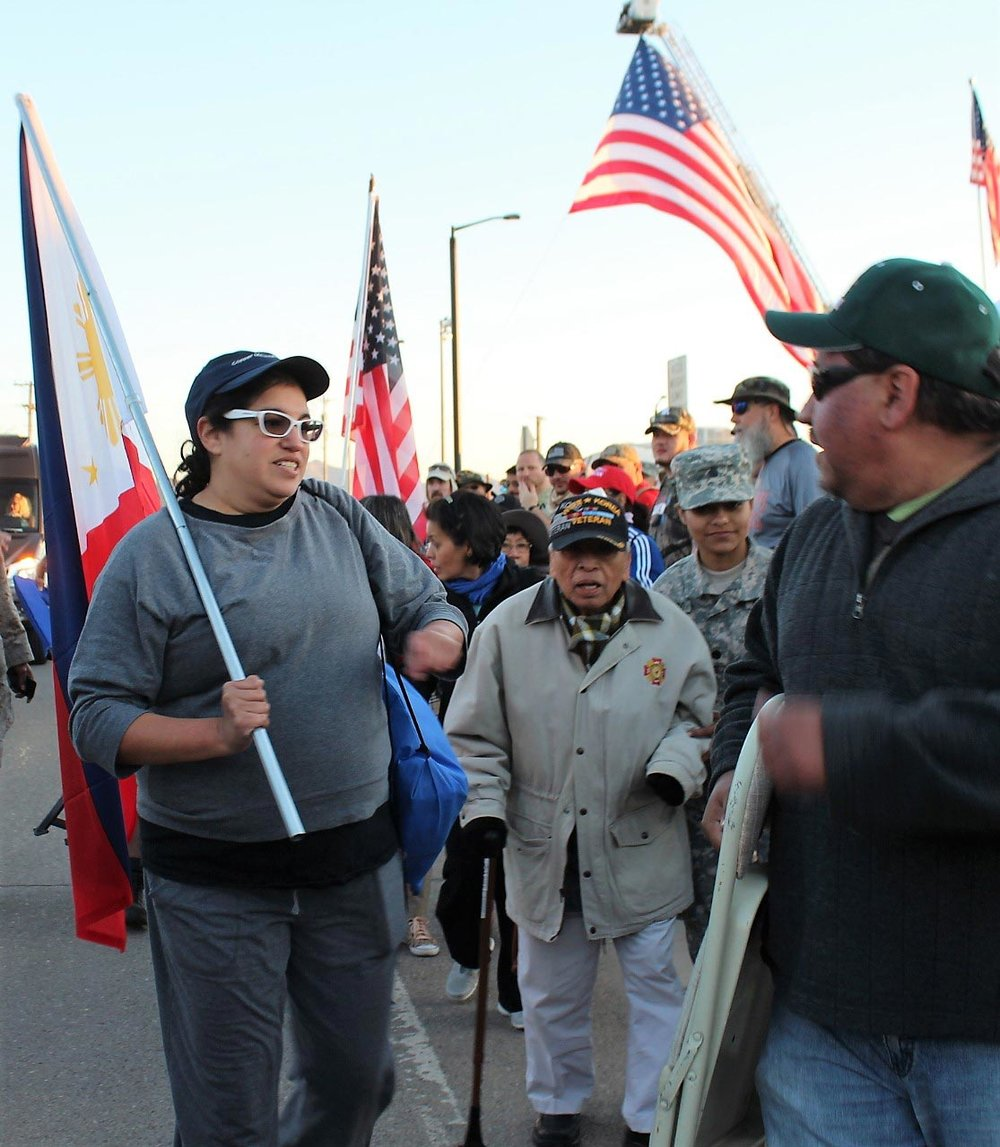 Filipino World War II Veteran Rey Cabacar of Fort Washington, Maryland is among the many Filipino Americans from across the country participating in the march. (Photo by Jon Melegrito)