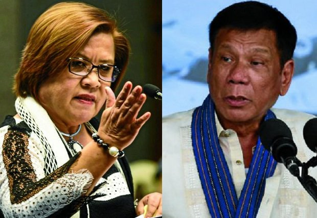 Sen. Leila De Lima (left) and President Rodrigo Duterte (Photos by Joan Bondoc/Inquirer.net)