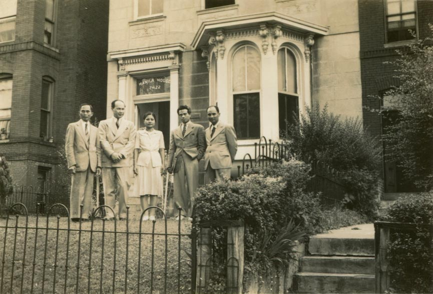 Juliana (center) and Rudolfo Panganiban (far right) with friends in front of the Manila House, 1944. (Source: The Rita M. Cacas Filipino American Community Archives Collection, Special Collections, University of Maryland Libraries, College Park, Maryland)