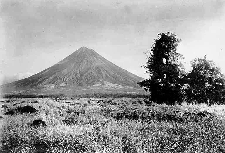 Mayon taken from Cagsawa in 1934, abandoned for over 120 years - causing rocks-built remains of the old church to fall due to natural weathering. (Photo by Jun Balde)