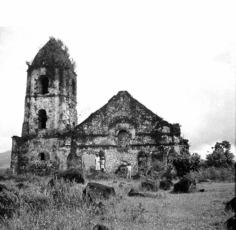 Old photo of church in Daraga, taken in 1934 to show it wasn't buried in the eruption of 1814 (Photo courtesy of Jun Balde)