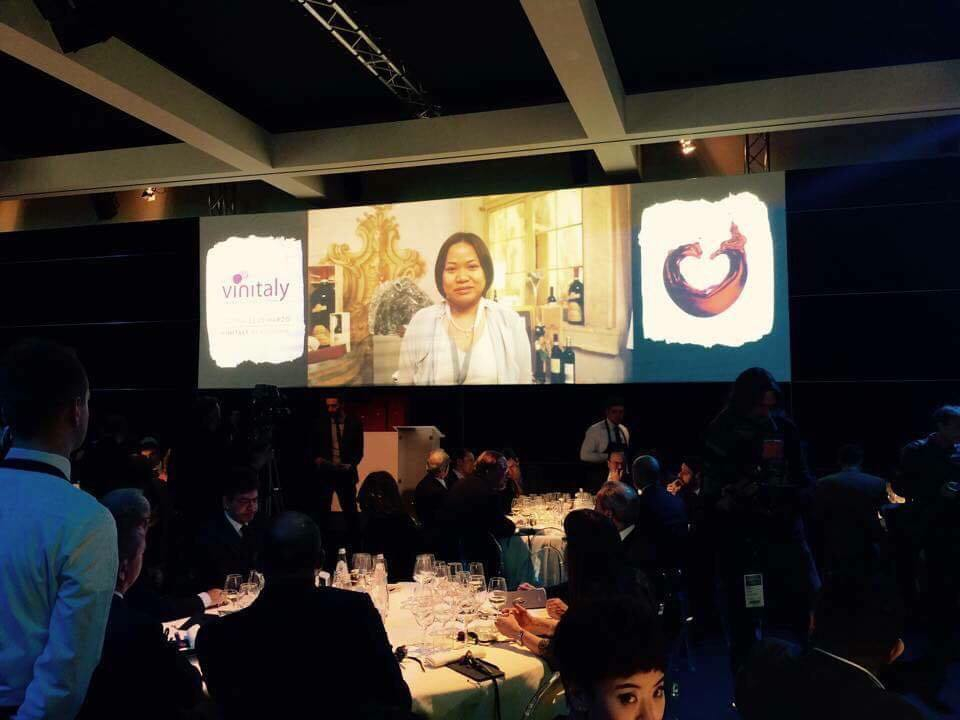 Proud Pinay sommelier & enogastronomist Arlene Oliveros was introduced to key players of the Italian wine industry during the 2015 Vinitaly Gala Dinner. (Photo courtesy of Arlene Oliveros)