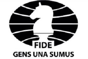 "The FIDE logo and its motto, "" We are One People ."""