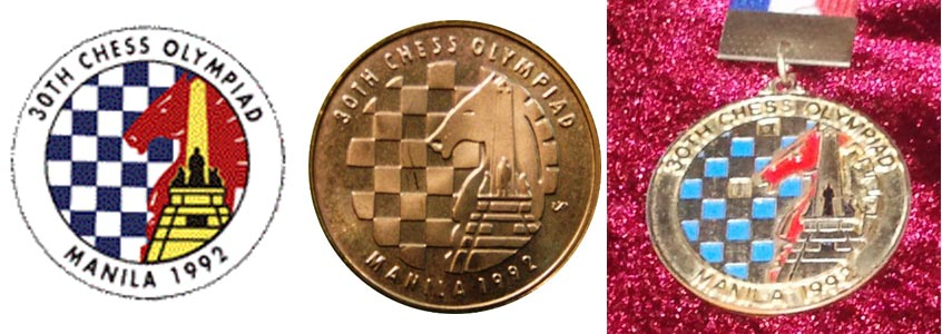 Commemorative material from the  Manila 1992 30  th   Chess Olympiad , left to right): official logo, the 5-peso commemorative coin (the obverse); and a medal. Note Rizal monument incorporated into the logo.
