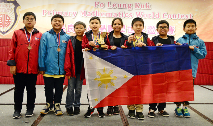 The Philippine team at 20th Po Leung Kuk Primary Mathematics World Contest (PMWC), (L-R) Juan Rafael Landicho, John Florence Dizon, Theodore Abara, Walsh Nico Adrian Letran, Armea Helena Sien Dimayacyac, Alvann Walter Paredes Dy, Rovi Gabriel Dela Cruz and John David Magnaye. (Photo by Jonathan Hicap of Manila Bulletin)