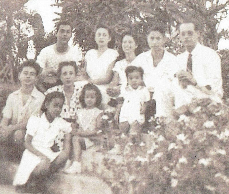 Author's family on the terraced garden in Tinaan, Naga, Cebu, where the Cebu Portland Cement Company (cepoc) was managed by my dad; Isabel is seated on the lowest step (Photo courtesy of Isabel Taylor Escoda)