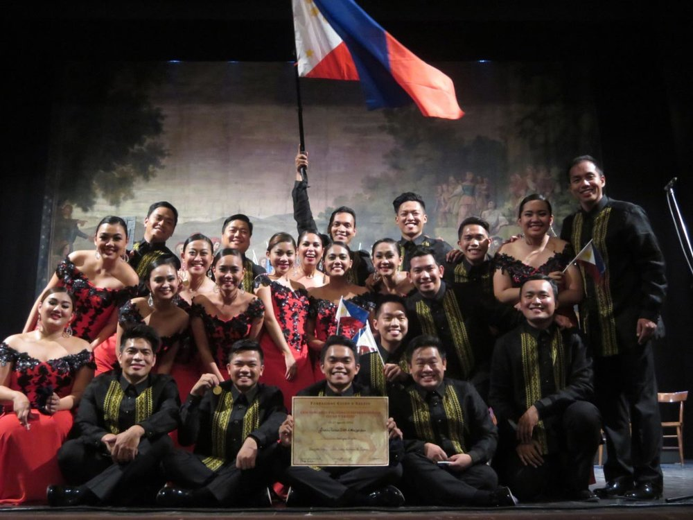 The Philippine Madrigal Singers during their victory at Guido d'Arezzo International Competition on Aug. 28, 2016. (Photo by Odette Galura)