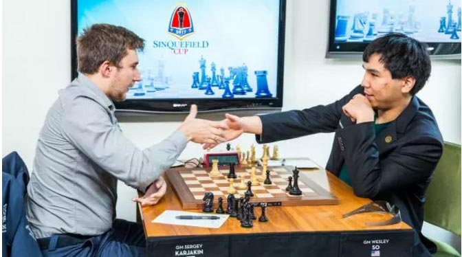 Wesley So (right) and Sergey Karjakin at the 2017 Sinquefield tournament (Source: chess.com)
