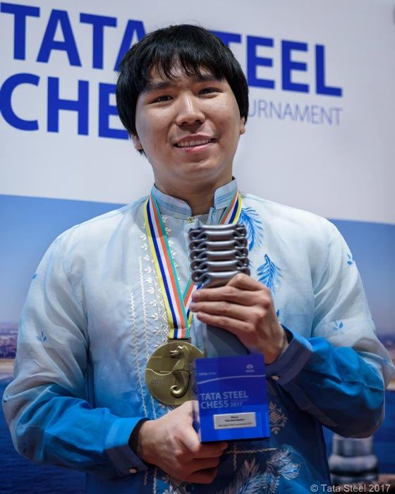 Wesley So winning the 2017 Tata Steel Chess Tournament (Photo by Tata Steel 2017)