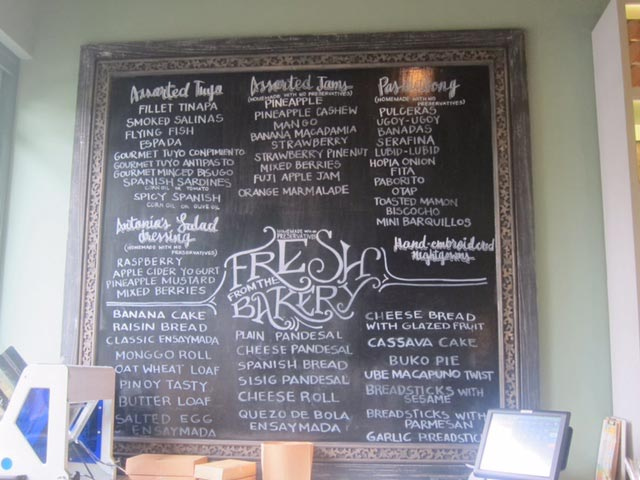 A menu of items available at Balay Dako's Deli.