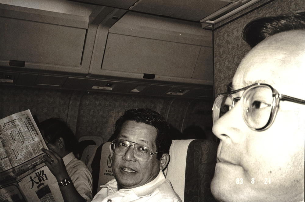 Senator Benigno Aquino, Jr. and his brother-in-law Ken Kashiwahara on that fateful China Airlines Flight 811 from Taipei to Manila   in 1983 (Photo courtesy of Ken and Lupita Kashiwahara)