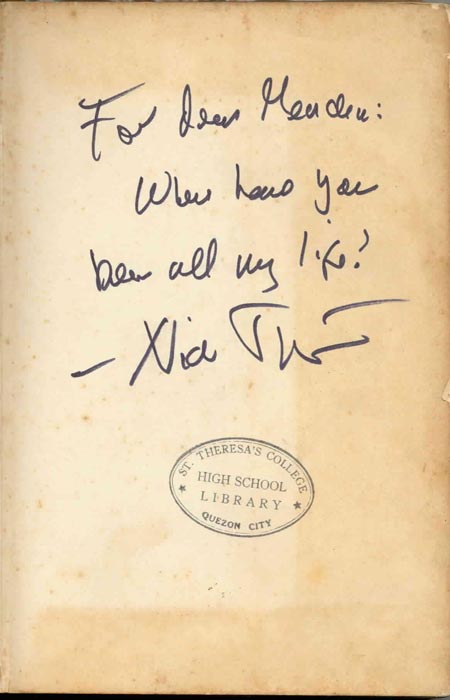 Nick Joaquin's dedication in the author's copy of  The Woman with Two Navels  (Photo courtesy of Maria Carmen Sarmiento)