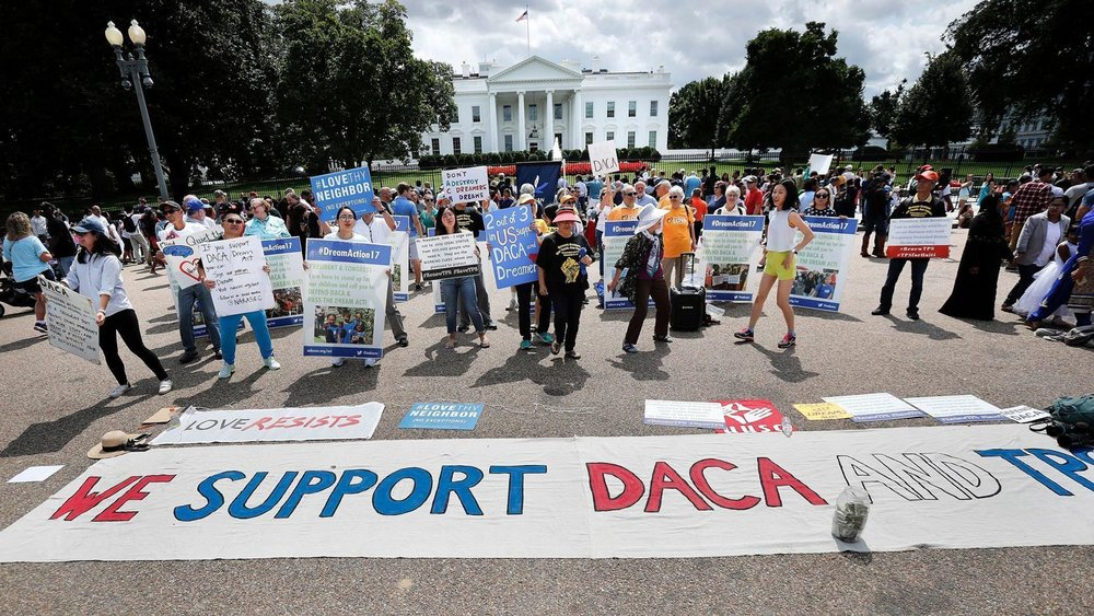The DREAMERS rally at the White House as President Trump discontinues DACA (Source: LA Times/Photo by Pablo Martinez Monsivais/Associated Press)