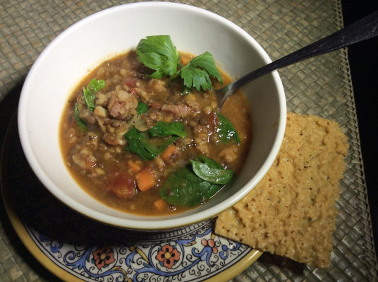 Lentil Longganisa Soup (Photo by Rene Astudillo)