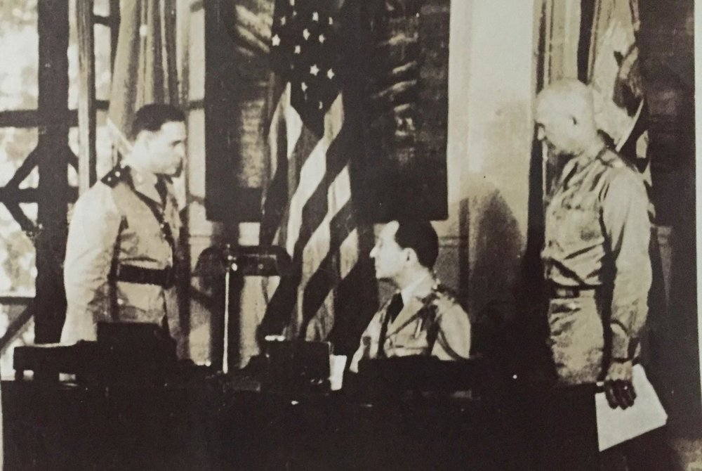 Major General Basilio Valdes with General Douglas MacArthur and General Dwight Eisenhower.