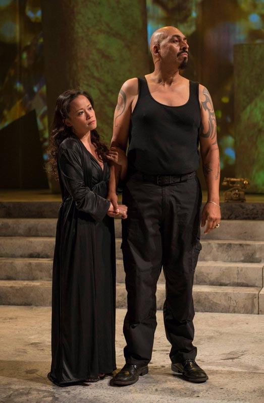 "Bunuan as Calphurina in ""Julius Caesar"" (Photo by Michael Brosilow - Writers Theatre)"