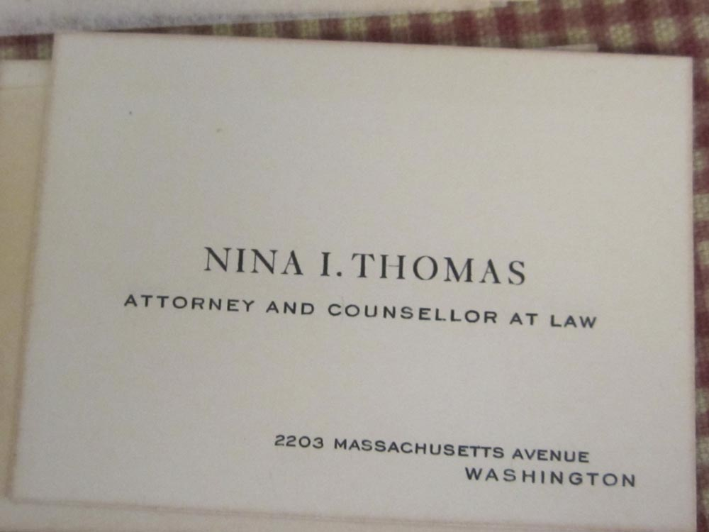 Nina Thomas' business card as an attorney (Photo by courtesy of Titchie Carandang-Tiongson and Erwin R. Tiongson.