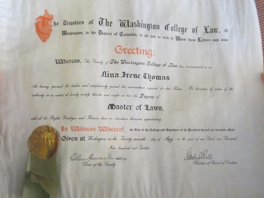 Nina Thomas' Master of Laws diploma (Photo courtesy of Titchie Carandang-Tiongson and Erwin R. Tiongson)