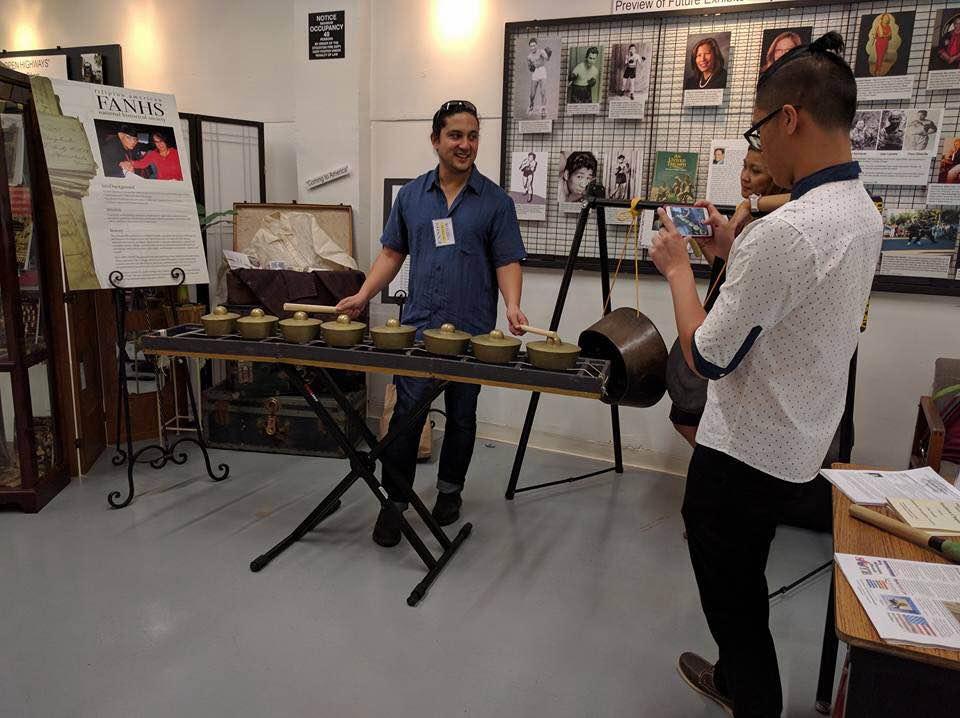 Kulintronica Artist, Ron Quesada and Brian Batugo taking his picture (Photo by Mariel Toni Jimenez)