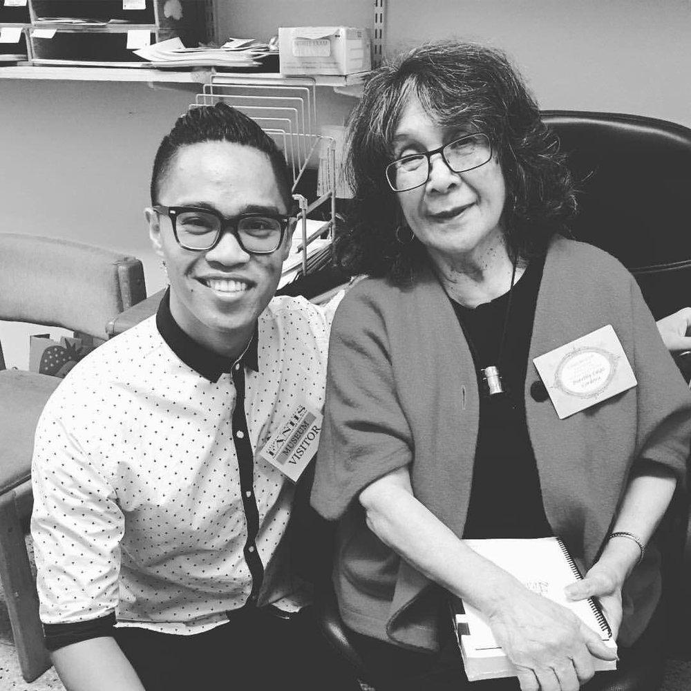 Brian Batugo, Little Manila Arts Director with Dorothy Cordova (Photo by Mariel Toni Jimenez)