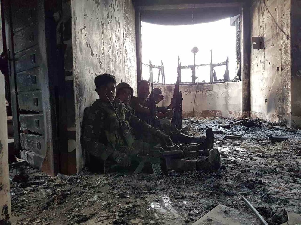 Philippine soldiers take a breather while fighting in Marawi (Photo courtesy of Lt. Geraldo Alvarez)