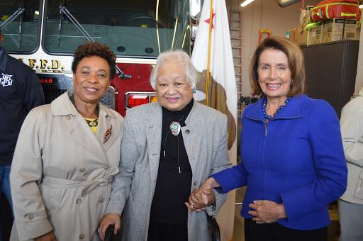 Congresswoman Barbara Lee, Evangeline Canonizado Buell, and Minority Leader Nancy Pelosi (Photo courtesy of Evangeline Canonizado Buell)