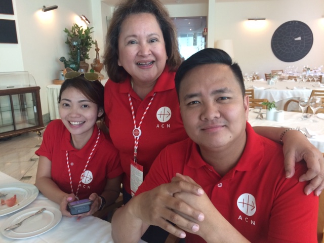 Members of Aid to the Church in Need (ACN) Foundation. Left to right: Eunice Jose, ex-secretary, Catherine Violago, benefactor, and Jonathan Luciano, head of the national section in the Philippines. The foundation's head office is in Germany and its mission is to help persecuted Christians all over the world. It was their first time to Fatima.