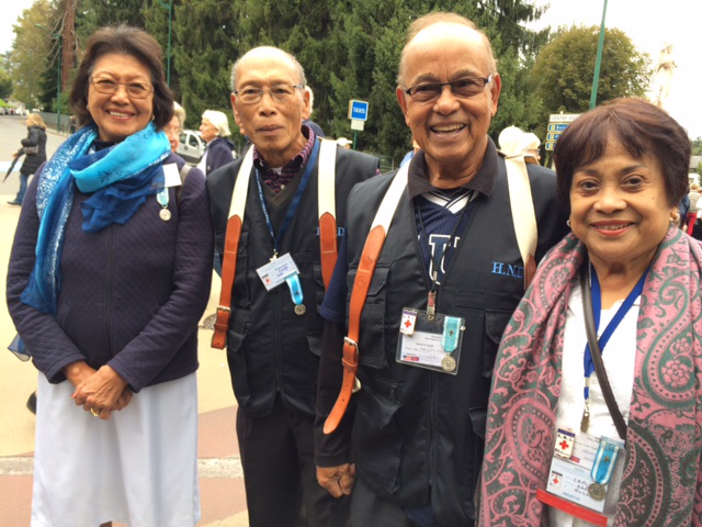 Filipino doctor-volunteers at Lourdes.  Left to right: Drs. Amelia and Rudy Aguillera from Nueva Vizcaya reside in Pennsylvania. Drs. Dick and Aida Larumbe from Cebu live in Florida. They have been volunteering for the past 7 to 18 years.