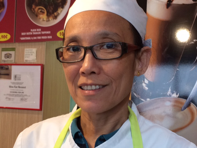 Gina Lat Rousset, owner and chef of Asian Delices, has been living in Lourdes for the past 10 years. She set up the restaurant six years ago. She met her husband in Hong Kong. She says that there are eight other Filipinos in Lourdes either working as chefs or in the hotels.