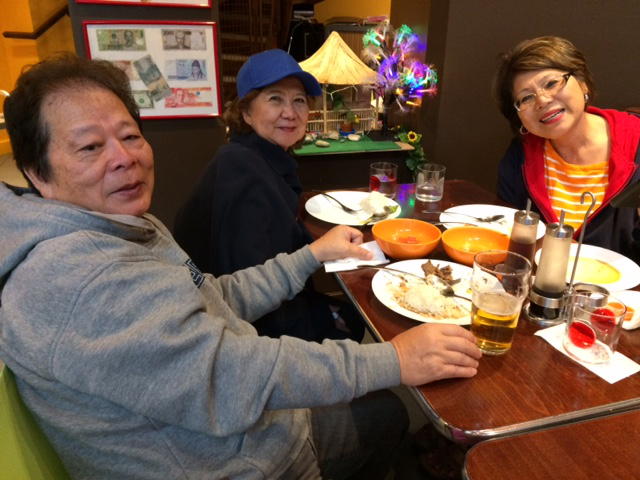 Happy diners.  Left to right: Roberto Abutin with his wife, Angie, hails from Cavite. They have lived in Southern California for the past 15 years. He is a retired engineer. Cory Cusimano, also from Cavite and a resident of Orange County, is a retired clinical coordinator for Kaiser.