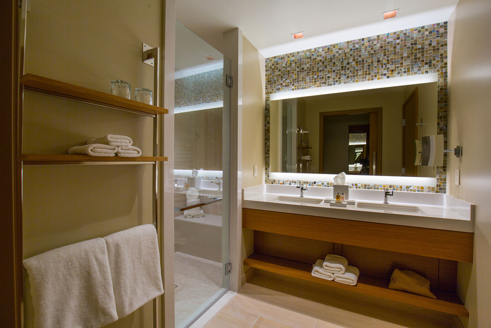 The bathroom at one of Pechanga's new room