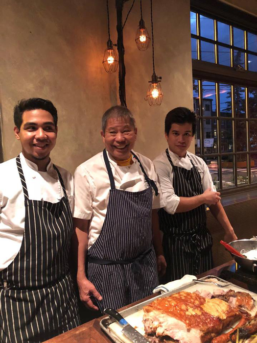 Chef Romy Dorotan (center) is the chief heart and soul of Purple Yam with his Malate Chefs Alvin Cruz (left) and Rap Cristobal (right).(Photo courtesy of Elizabeth Ann Quirino & Elpidio P. Quirino)