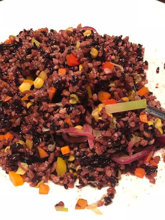 Vegetable Fried Heirloom Rice: ominio (Mt. Province), unoy (Kalinga) and adlai (Job's tears). (Photo courtesy of Elizabeth Ann Quirino & Elpidio P. Quirino)
