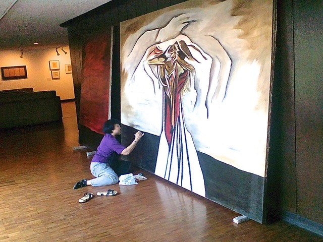 Retouching a mural by Jaime de Guzman from the CCP Collection copy