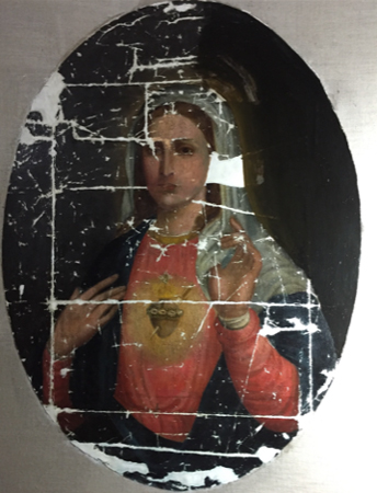 Sacred Heart of Mary,  a 19th century oil on canvas during and after restoration