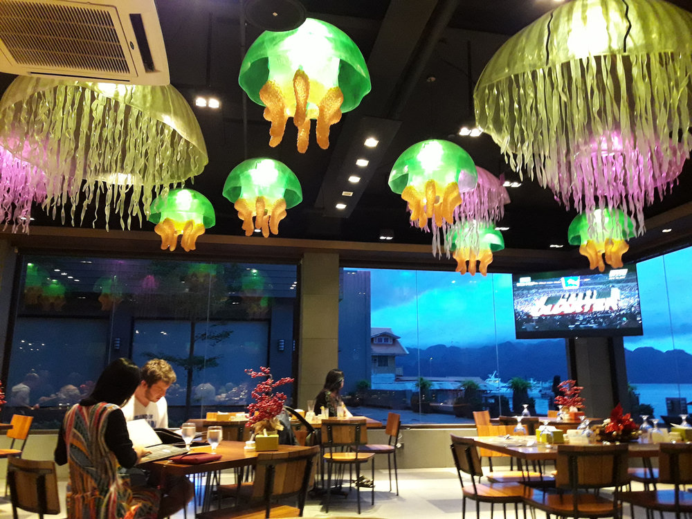 The most beautiful things we saw in Coron were these glass jellyfish that changed colors at night. At the Baja Restaurant, two Seasons Bayside Hotel.(Photo by Bella Bonner)