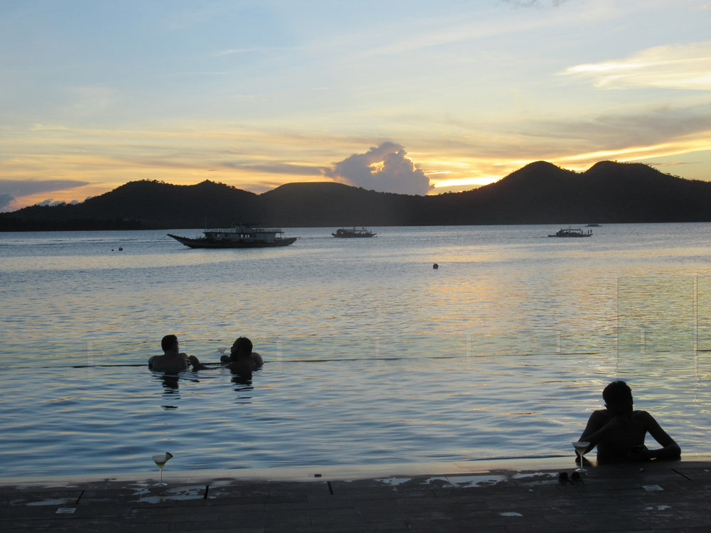 From infinity pool to sea, another day is about to end in Coron. (Photo by Bella Bonner)