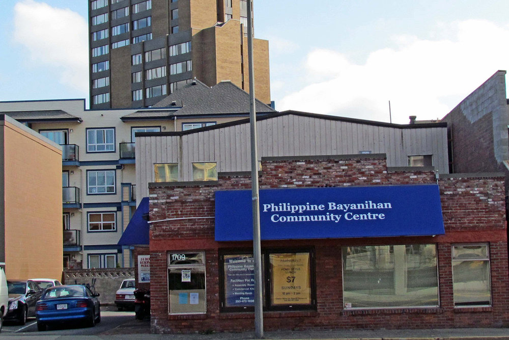 The Bayanihan Community Centre, in a high-profile location in downtown Victoria, had its grand opening on November 3, 2001, with Philippines' Vancouver Consul General Zenaida Tacorda-Rabago, Victoria Mayor Alan Lowe, and federal Member of Parliament Gary Lunn, among others attending.